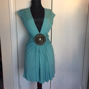 Sky baby blue dress w gold emblem sz M
